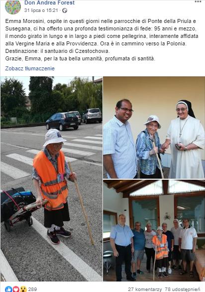 95-latka idzie z Włoch do Częstochowy