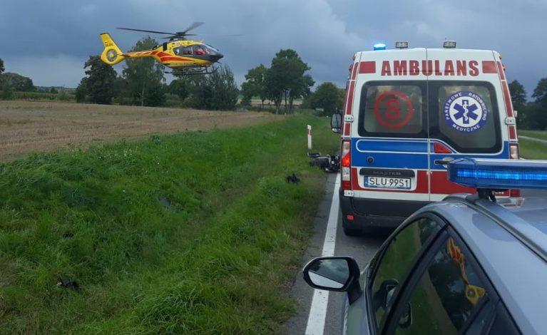 Poważny wypadek w Gwoździanach. Motocyklista w szpitalu
